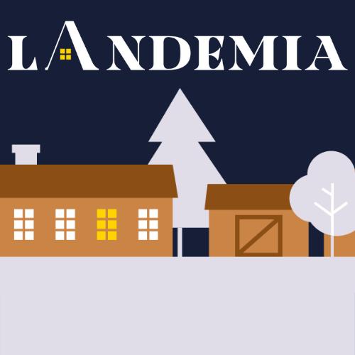 Kuvassa landemian logo, puita ja taloja