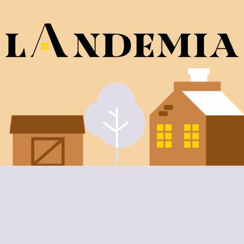 Kuvassa landemian logo, koivu ja taloka