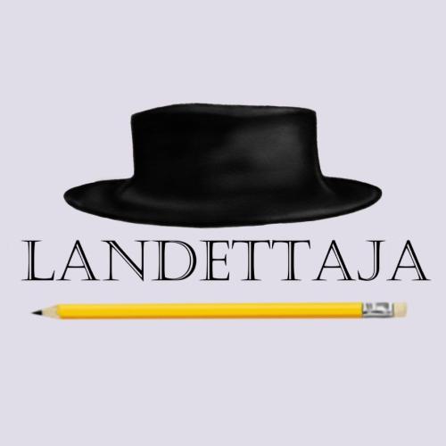 Kuvassa Landettajan tunnus, hattu ja kynä